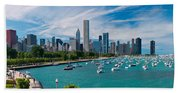 Chicago Skyline Daytime Panoramic Beach Towel