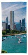 Chicago Skyline Daytime Panoramic Beach Sheet