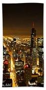 Chicago Skyline At Night I Beach Towel