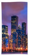 Chicago Skyline From Navy Pier View 2 Beach Towel