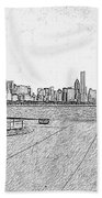 Chicago Skyline Hard Ink Beach Towel