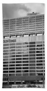 Chicago Sun Times Facade After The Storm Bw Beach Towel