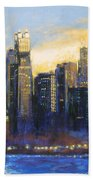 Chicago Sunset Looking South Beach Towel