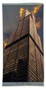 Chicago Tall Shoulders Trump Sears 333 Wacker Triptych 3 Panel 03 Beach Towel