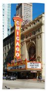 Chicago Theater Marquee Sign On State Street Beach Towel