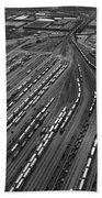 Chicago Transportation 02 Black And White Beach Sheet