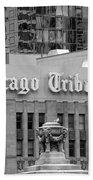 Chicago Tribune Facade Signage Bw Beach Towel