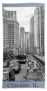 Chicago Triptych 3 Panel Black And White Beach Towel