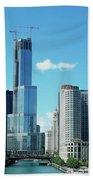 Chicago Trump Tower Under Construction Beach Sheet