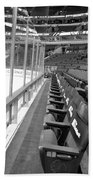Chicago United Center Before The Gates Open Blackhawk Seat One Bw Beach Towel