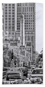 Chicago Water Tower Beacon Black And White Beach Towel