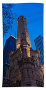 Chicago Water Tower Panorama Beach Towel by Steve Gadomski
