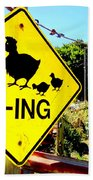 Chicken Crossing Beach Towel