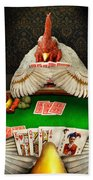 Chicken - Playing Chicken Beach Towel by Mike Savad