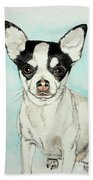 Chihuahua White With Black Spots Beach Towel