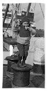 Child Arriving At Ellis Island Beach Sheet