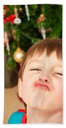Child At Christmas Beach Towel