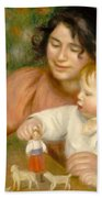 Child With Toys Gabrielle And The Artist S Son Jean Beach Towel by Pierre Auguste Renoir
