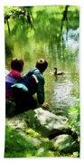 Children And Ducks In Park Beach Towel