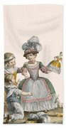 Children At Play, Engraved By Patas Beach Towel