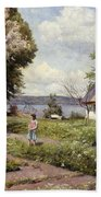 Children In A Farmyard Beach Towel by Peder Monsted