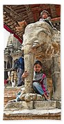Children Love The Elephants In Patan Durbar Square In Lalitpur-nepal Beach Towel