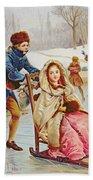 Children Skating Beach Towel by Maurice Leloir