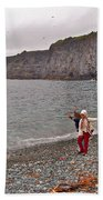 Children Throwing Capelin Back Into The Ocean At Middle Cove-nl Beach Towel