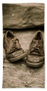 Child's Old Leather Shoes Beach Towel by Edward Fielding