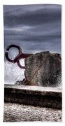 Chillidas Comb Of The Wind In San Sebastian Basque Country Spain Beach Towel