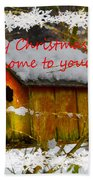 Chilly Birdhouse Holiday Card Beach Towel