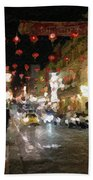 China Town At Night Beach Towel by Linda Woods
