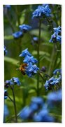 Chinese Forget Me Nots And Honey Bee Beach Towel