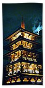 Chinese Pagoda At Night With Full Moon Beach Towel