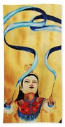 Chinese Ribbon Dancer  Blue Ribbon Beach Towel