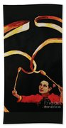 Chinese Ribbon Dancer Yellow Ribbon Beach Towel
