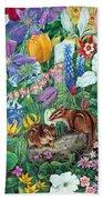 Chipmunk Garden Beach Towel