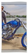 Chopper Motorcycle Beach Towel