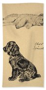 Chow And Spaniel, 1930, Illustrations Beach Towel by Cecil Charles Windsor Aldin