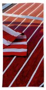 Chris Craft With American Flag Beach Sheet