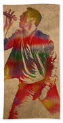 Chris Martin Coldplay Watercolor Portrait On Worn Distressed Canvas Beach Towel