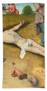 Christ Nailed To The Cross Beach Towel