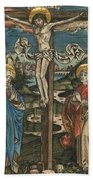 Christ On The Cross With Mary And Saint John Beach Towel by German School