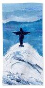 Christ Statue In Rio In Blue Beach Towel