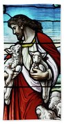 Christ The Good Shepherd With His Flock Beach Sheet