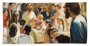 Christ With Children Beach Sheet