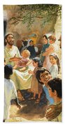 Christ With Children Beach Towel