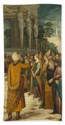 Christ With The Adulterous Woman Beach Towel