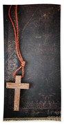 Christian Cross On Bible Beach Towel