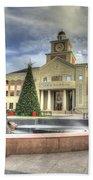 Christmas At Sugar Land City Hall Beach Towel